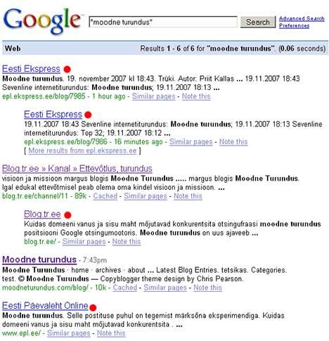 Google tulemused moodne turundus